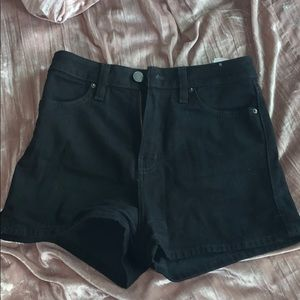 BDG high waisted black denim shorts.